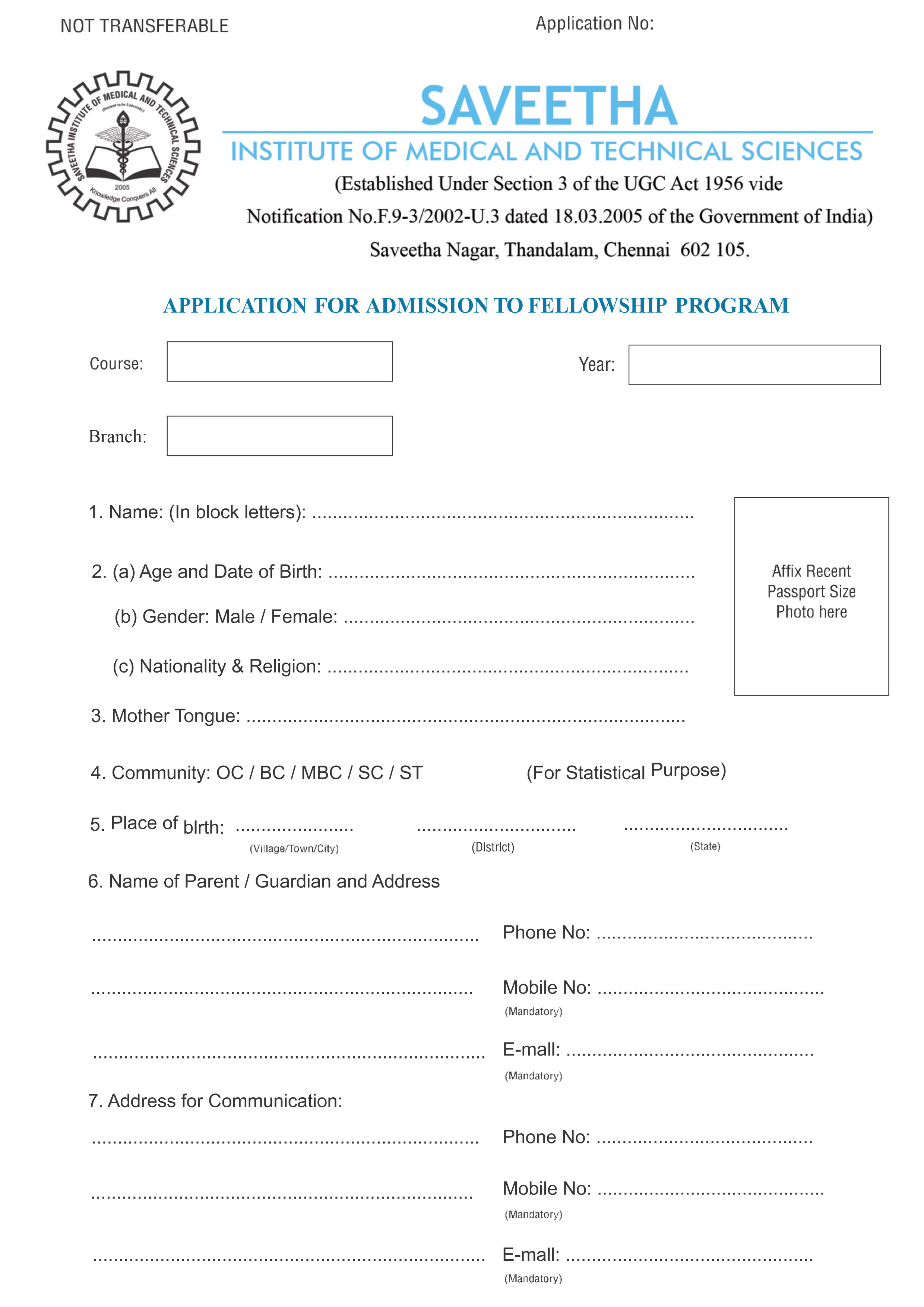 FELLOWSHIP APPLICATION FORM 1